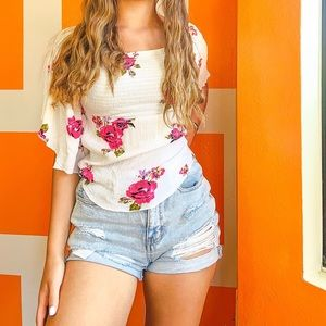 White and Pink Flower Elastic Bust Top
